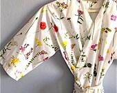 Kimono Robe. Bridesmaid Robes. Dressing Gown. Enchanted Garden. Knee Length. Small thru Plus Size Kimono 2XL.
