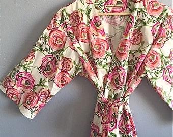 Pink Kimono Robe. Pink Floral Kimono. Pink Bridesmaids Robe. Dressing Gown. Spa Robe. Pink Peonies. Bathrobe.