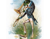 Frog Greeting Card - Bullfrog with a Trombone - Victorian Gentleman Frog Musician