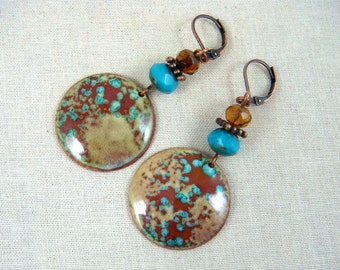 Boho Turquoise and Copper Enamel Earrings - Turquoise and Copper Charm with Czech Glass Beads - Blue and Copper Earrings - Hoop Earrings