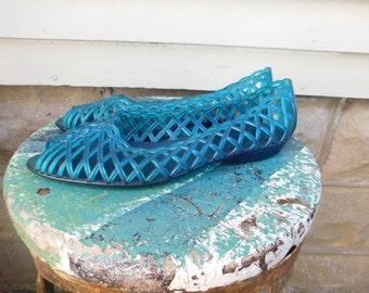 Authentic Vintage 80's Jelly Shoes Aqua Teal Blue Jellies Size 8-8.5