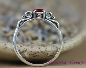Dainty Victorian Scroll Engagement Ring with Ruby in Sterling - Silver Vintage-style Wedding Ring - Promise Ring - July Birthstone