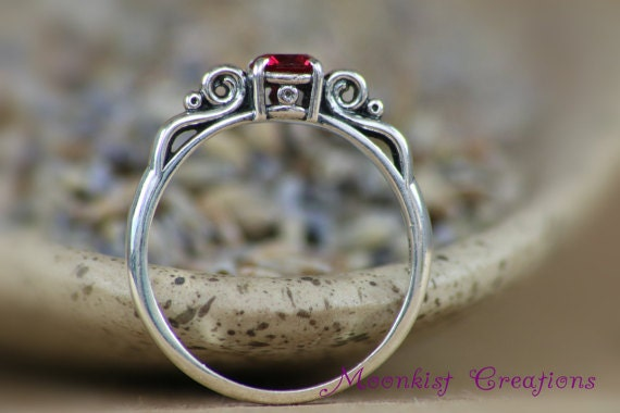Dainty Victorian Scroll Engagement Ring With Ruby In Sterling
