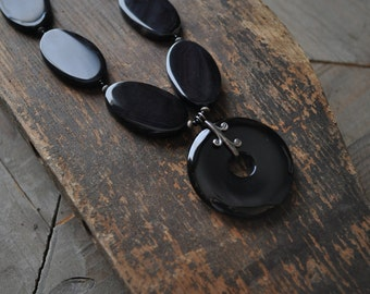 Black Onyx Necklace, Black Chunky Necklace, Big Bold Necklace, Gift for Mom from Son