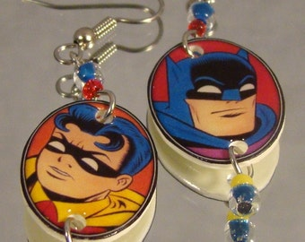 Batman and Robin Cartoon Dangle Earrings - Original