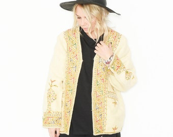Vintage 70s Embroidered India Wool Jacket, BOHO Waistcoat
