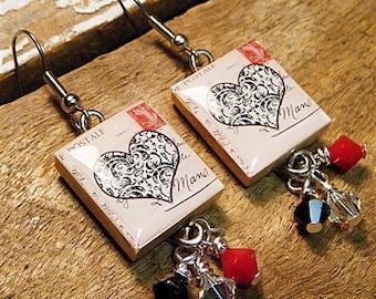 Black Love Heart Earrings / Scrabble Tile Earrings / Vintage Style / Postage Stamp / Dangle Earrings / Valentines Earrings / Heart Earrings