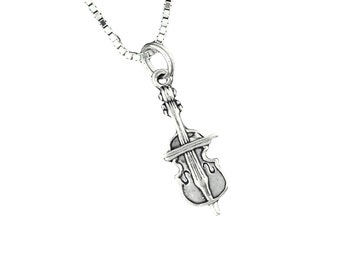 Sterling Silver Cello Pendant Necklace Musical Instrument With 18 Inch Box Chain