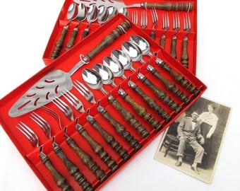 Vintage Wood Handle Flatware / Pie Server, Dessert Flatware, Dessert Forks, Dessert Spoons -  2 Sets Available