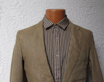 70's Vintage Men's 20's Style Striped Linen Jacket 38