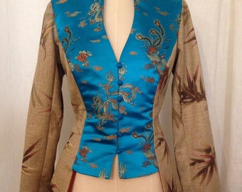 SALE Edwardian Jacket, Brown Bamboo Print and Turquoise Asian Brocade, size Medium