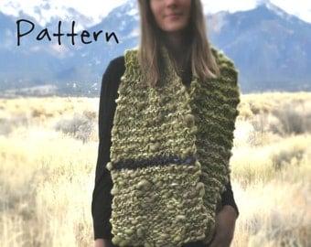Knitting Pattern for Wide Bulky Scarf By Yospun