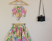Tutti Frutti Print White Pink Green and Orange Floral Twin Set Halter Crop and Full Skirt 90s Cute Lolita 70s