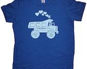 Heart Tshirt Kids - Valentines Day Boy Truck Shirt - Hearts Love Dump Truck Tee Shirt Top - Kids Tshirt 2T, 4T, 6, 8, 10, 12 - Gift Friendly