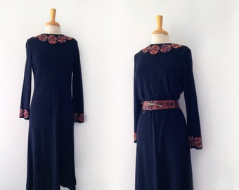 1960s goldworm black knit dress with with floral knit neckline and cuffs dress size medium