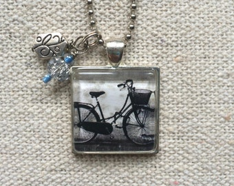 Vintage Bike - Glass Pendant Necklace with Charms