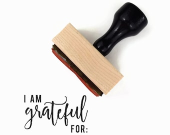 Rubber Stamp I am Grateful For - Thanksgiving Fall Harvest Festival Family Craft DIY - Wood Mounted Stamp by Creatiate