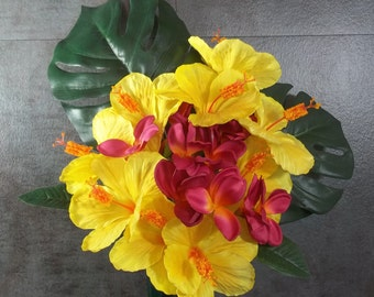 Memorial Flower Arrangement for Grave Decoration Yellow Hibiscus Pink Plumeria Monstera Leaves Tropical Flower Memorial Day Arrangement