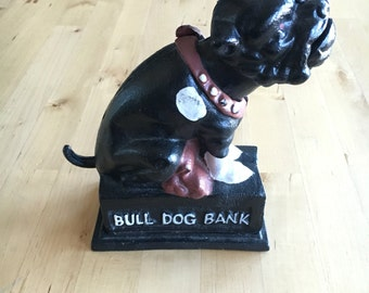 Vintage 1970's Cast Iron Bull Dog Coin Bank - Rare find, Collectible- adorable addition for your Home or Nursery