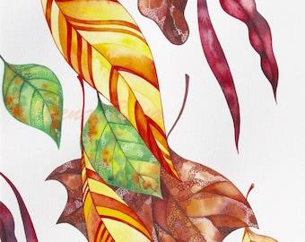 Autumn Leaves Painting/ ORIGINAL Watercolor Painting/ Fall Illustration/ Autumn Art/ Fall Decor/ Yellow, Orange, Brown, Green Art