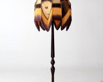 Victorian style floor lamp with velvet burnout lampshade and turned wood base