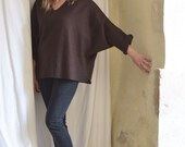 SALE V Neck Dark Brown Tunic in Boiled Wool - Raglan Wide Sleeves - Slouchy and Warm.  Size Medium Large Ready to Ship