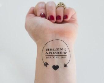 Wedding Temporary Tattoos, Arrow & Heart, Custom Tattoo, Personalized Tattoo, Customized Tattoo, Wedding Favor, Wedding Logo, Party Favor