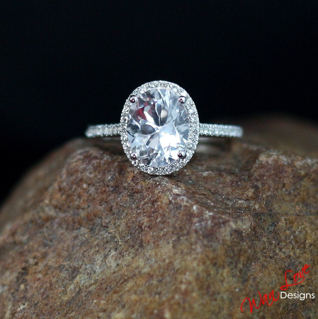 white sapphire oval halo engagement ring cut cathedral 3 5ct