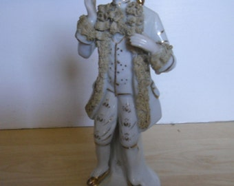 Vintage Figurine - Male French Aristocrat Figure, White and Gold Porcelain, Made in Japan, 1950s