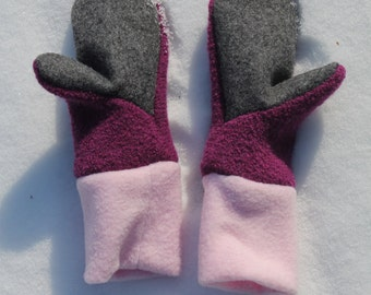Wool Kids Mittens / Fleece lined / Cozy Warm Winter Mittens / Gloves / Toddlers