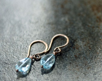 Swiss blue topaz and rose gold fill earrings