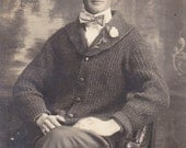 Handsome Beau Dandy- 1910s Antique Photograph- Edwardian Fashion- Man in Knit Sweater- Real Photo Postcard- RPPC- Paper Ephemera