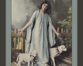 Cheerful Easter- 1900s Antique Postcard- Innocent Virgin- Little Lambs- Edwardian Easter Decor- Angelic Girl- Paper Ephemera- Used