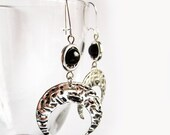 Moon Earrings, Gothic Wicca Occult Earrings, Goddess Earrings, Crescent Moon Earrings, Gothic Earrings, Gothic Moon Earrings