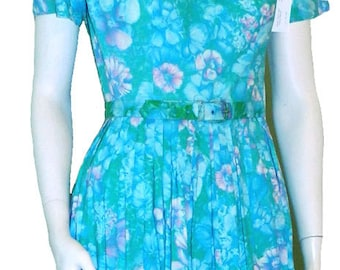 Vintage 1960s Blue Floral Cotton Dress with Full Pleated Skirt