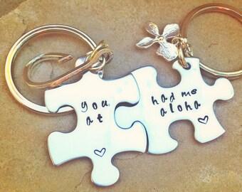 Valentine Gift His and Hers, Boyfriend Gift, You had me at aloha, natashaaloha, couples gift, personalized gifts, Aloha Keychain