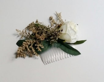 Dried flower comb Bridal Wedding hair Accessory white rose Hairpiece comb with leaves greenery woodland rustic country western barn party