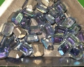 Vintage Light Sapphire Octagon AB Rhinestones 8x6mm Made in Germany US Zone QTY - 10