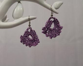 Lavender crochet chandelier earring