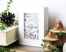 Do You Suppose She's A Wildflower? ACEO, Alice in Wonderland art, Rose Gold foil print, Chatty Nora, Typography print, Artist Trading Cards
