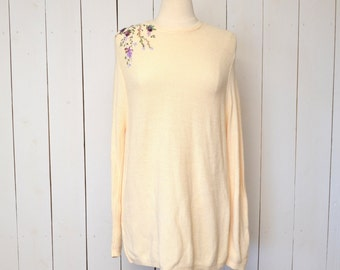 Slouchy Knit Sweater Vintage Early 90s Cream Floral Embroidery Loose Fit Tunic Sweater Medium