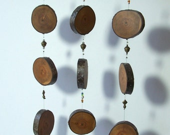 Silent Wind Chime Mobile,  Unique Wood Round Wind Chime, Cherry Wood Rounds