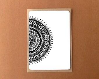 Beautiful mandala card, HALF BLACK ROUNDIE, zentangle card, general note card