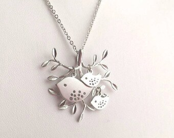 Silver Bird Necklace. Mommy and Baby Necklace. Silver Tree Necklace. Family Necklace. Mother. Grandma. Sister. Mom. Daughter.Sterling Silver