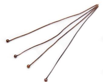 Ball Head Pins : 50 Antique Copper Brass Ball Head Pins 50mm x .5mm (24 gauge) -- X-RP0.5x50mm-R.U