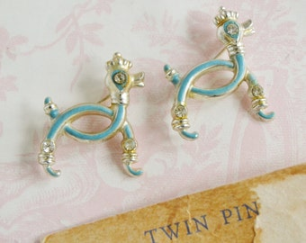 Vintage Pair of Poodle Pins in Light Blue with Rhinestone Eyes by Nemo