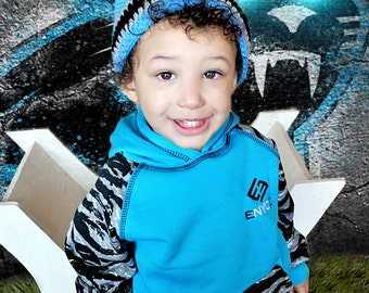 Carolina Panthers Football Beanie Hat/Blue, Black and Silver Beanie Hat (fits baby to adult)