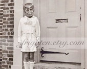 Halloween Wall Art, Black and White, Wall Art Print, Boy with Devil Mask, Creepy Cute, Halloween Decor, Altered Art, Collage Art