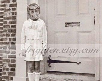 Halloween Wall Art, Black and White, Wall Art Print, Boy with Devil Mask, Creepy Cute, Halloween Decor, Altered Art, Collage Art