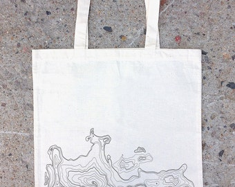 Tote Bag - Abstract Topography - Cotton Canvas Tote Bag - Screen Printed Tote Bag